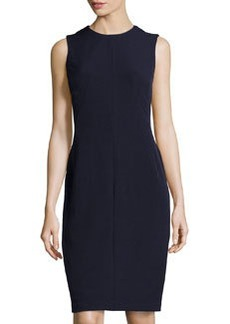 Isaac Mizrahi Stretch-Crepe Seamed Sleeveless Dress, Navy