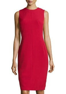 Isaac Mizrahi Stretch-Crepe Seamed Sleeveless Dress, Red