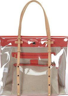 Isaac Mizrahi Susanna Tote, Clear Polyvinyl Chloride Jelly/Falmingo/Pebble/Light Vachetta, One Size