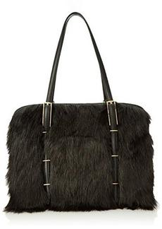 Isaac Mizrahi Trudy Satchel,Black Faux Fur/Black Nappa,One Size