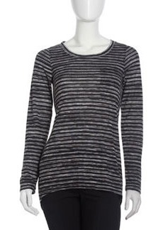 Isda & Co Long-Sleeve Striped Tee, Black
