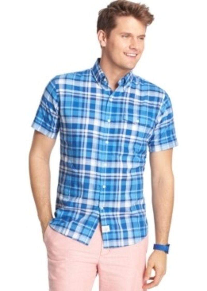 Izod izod big and tall short sleeve plaid seaside poplin for Big and tall casual shirts