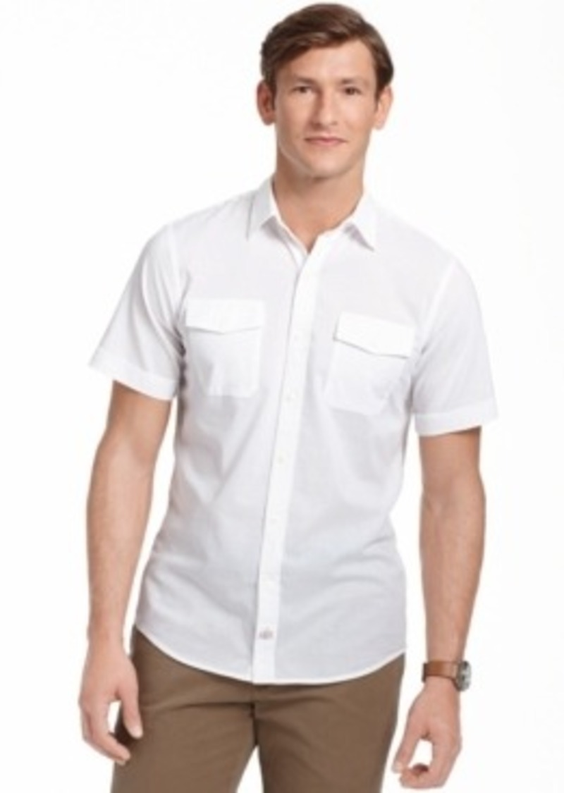 Izod izod big and tall solid seaside poplin short sleeve for Big and tall casual shirts