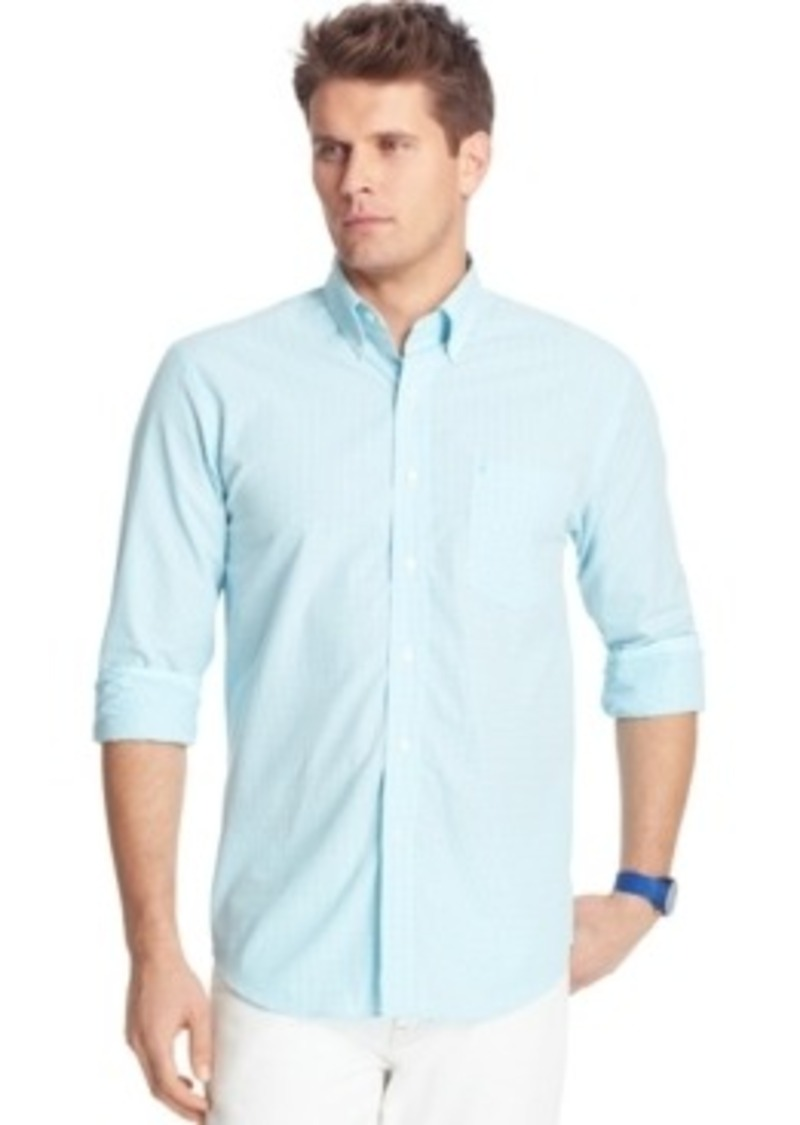 Izod izod essential big and tall long sleeve gingham shirt for Big and tall casual shirts