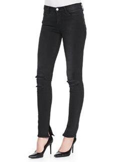 8112 Rail Mid-Rise Skinny Distressed Jeans, Break Up Black   8112 Rail Mid-Rise Skinny Distressed Jeans, Break Up Black