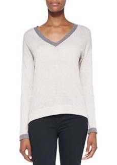 Anett Contrast-Neck Knit Sweater   Anett Contrast-Neck Knit Sweater