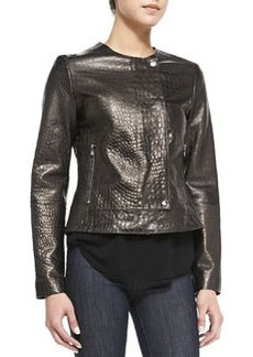 Crocodile-Embossed Metallic Leather Jacket   Crocodile-Embossed Metallic Leather Jacket