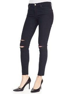 Cropped Destroyed Skinny Jeans, Blue Mercy   Cropped Destroyed Skinny Jeans, Blue Mercy