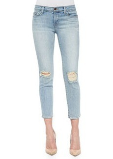 Cropped Faded Mid-Rise Jeans, Dropout   Cropped Faded Mid-Rise Jeans, Dropout