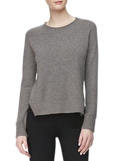 Eugenia Crewneck Cashmere Sweater, Armour Heather   Eugenia Crewneck Cashmere Sweater, Armour Heather