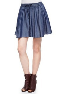 Feliz Pleated Chambray Short Skirt   Feliz Pleated Chambray Short Skirt
