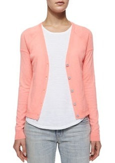 Gia Cashmere Button-Front Cardigan, Flamingo   Gia Cashmere Button-Front Cardigan, Flamingo