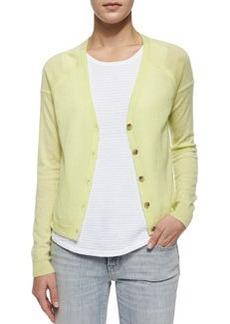 Gia Cashmere Button-Front Cardigan, Lime   Gia Cashmere Button-Front Cardigan, Lime