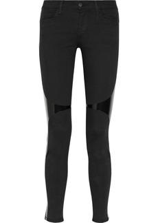 J Brand 620 Power Stretch vinyl-paneled skinny jeans