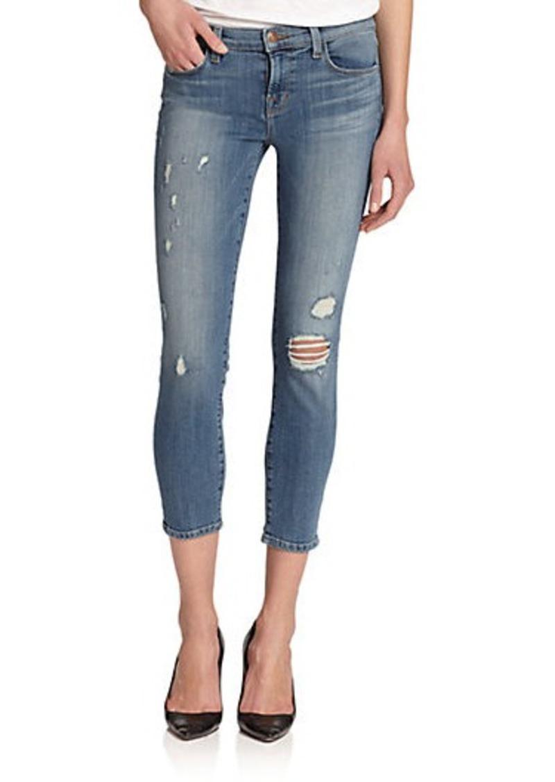 j brand j brand 835 mid rise distressed cropped skinny jeans denim shop it to me. Black Bedroom Furniture Sets. Home Design Ideas