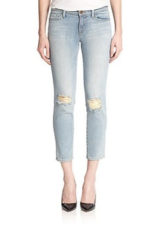 J Brand 835 Mid-Rise Distressed Cropped Skinny Jeans