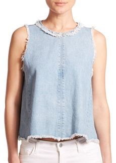 J Brand 9927 Talya Frayed Denim Top