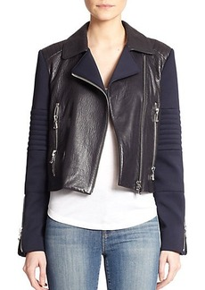J Brand Aiah Contrast Leather Jacket