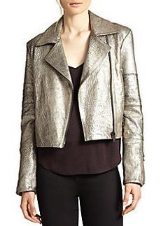 J Brand Aiah Metallic Leather Motorcycle Jacket