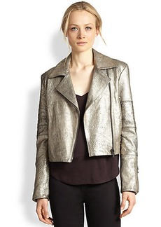 J Brand Aiah Metallic Leather Motorcycle Jacket
