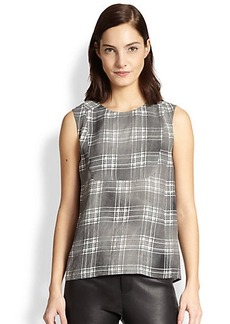 J Brand Bianca Collegiate Plaid Sleeveless Top