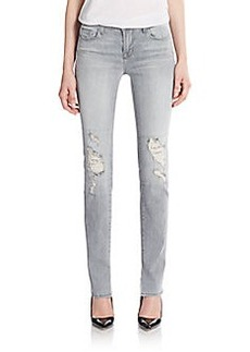 J Brand Distressed Mid-Rise Straight-Leg Jeans