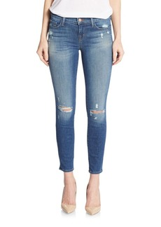 J Brand Distressed Skinny Cropped Jeans