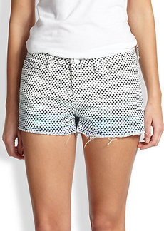 J Brand Dot-Print Cut-Off Denim Shorts