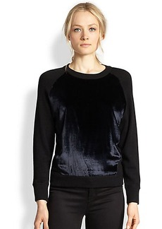 J Brand Erin Velvet-Paneled Wool Sweater