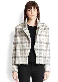 J Brand Esther Shag-Textured Plaid Box Jacket