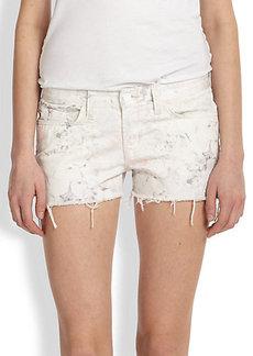 J Brand Faded Floral-Print Denim Cut-Off Shorts