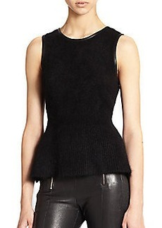 J Brand Grace Leather-Trimmed Angora-Blend Peplum Sweater