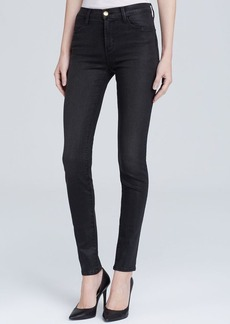 J Brand Jeans - Coated Photo Ready High Rise Maria in Black Diamond