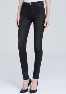 J Brand Jeans - Coated Photo Ready High Rise Maria in Black Diamond