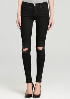 J Brand Jeans - Mid Rise Super Skinny Destruction in Blackout