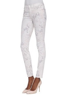 J Brand Jeans 620 Mid-Rise Skinny Ghost Rose Floral-Print Jeans