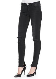 J Brand Jeans 8112 Rail Mid-Rise Skinny Distressed Jeans, Break Up Black