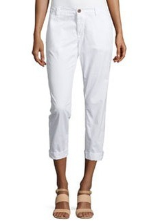 J Brand Jeans Inez Slim-Fit Cropped Chino Pants, White
