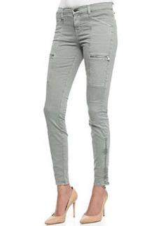 J Brand Jeans Kassidy Vintage Olive Zipper-Detail Skinny-Leg Jeans