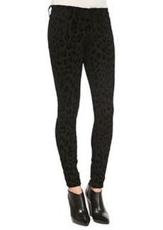 J Brand Jeans Leopard-Print Ponte Skinny Pants, Black Cat