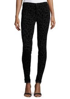 J Brand Jeans Leopard-Print Super-Skinny Ponte Pants, Black Cat