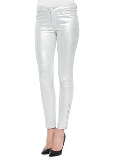 J Brand Jeans Metallic Suede Skinny-Fit Jeans, Silver Shadow