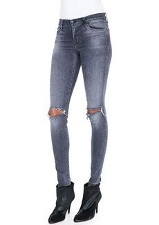 J Brand Jeans Mid-Rise Distressed Skinny Jeans, Nemesis
