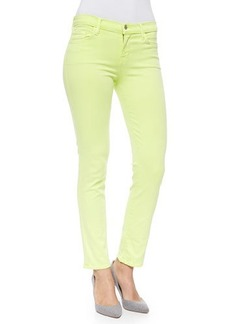 J Brand Jeans Rail Mid-Rise Cropped Skinny Jeans, Lime Sherbet