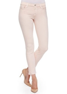 J Brand Jeans Rail Mid-Rise Cropped Skinny Jeans, Pink