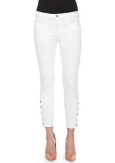 J Brand Jeans Suvi Cropped Button-Cuff Skinny Jeans, White