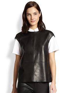 J Brand Karo Leather Cap-Sleeve Top