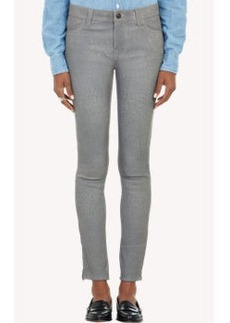 J Brand Leather Ankle-Zip Skinny Jeans