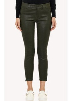 J Brand Leather Cropped Jeans