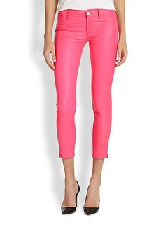 J Brand Leather Cropped Skinny Jeans